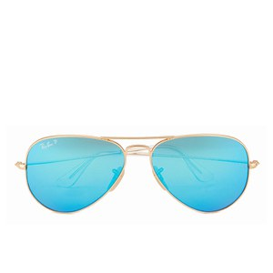 1d8defbfe3a Ray-Ban Aviator Large Metal Sunglasses - Matte Gold Blue Mirror Polar - 58mm