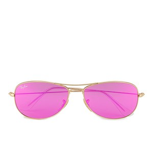 Ray-Ban Women's Cockpit Sunglasses - Matte Gold/Cyclamen Mirror - 56mm