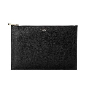 Aspinal of London Essential Large Flat Pouch - Black Pebble