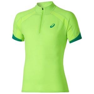 Asics Men's Shorts Sleeve Half Zip Running T-Shirt - Green Gecko