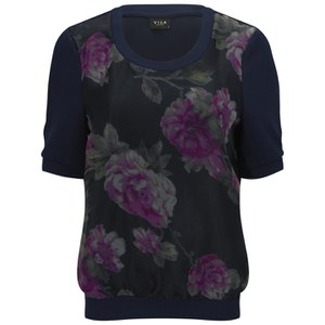 VILA Women's Anna Floral Top - Black Iris