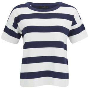 VILA Women's Cannon Striped Top - Black Iris