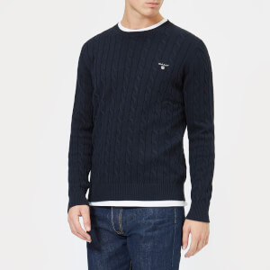 GANT Men's Cotton Cable Crew Knitted Jumper - Evening Blue