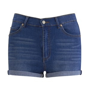 Cheap Monday Women's 'Short Skin' High-Waist Denim Shorts - Sonic