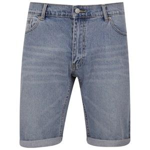 Cheap Monday Men's 'High Cut' Denim Shorts with Fold-Up - Sky