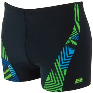 Zoggs Men's Optic Sport Spliced Hip Racer Swim Shorts - Black/Green/Blue