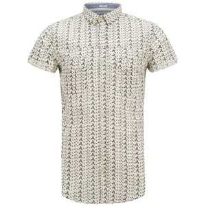 Soul Star Men's Ms Marcy Printed Shirt - Ecru