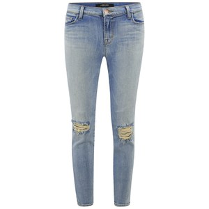 J Brand Women's Mid Rise Distressed Crop Skinny Jeans - Dropout Indigo
