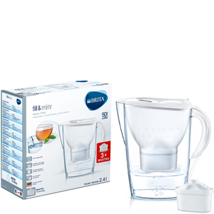 BRITA Marella Water Filter Jug with 3 Cartridges - White (2.4L)