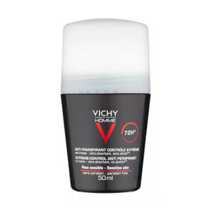 VICHY Homme Men's Deodorant Extreme-Control Anti-Perspirant Roll-On Sensitive Skin 50ml