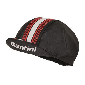 Santini Tau Cotton Cycling Cap - Black/Red