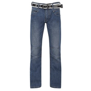 Crosshatch Men's Oakland Belted Jeans - Stone Wash