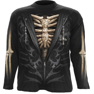 Spiral Men's UNZIPPED Long Sleeve T-Shirt - Black