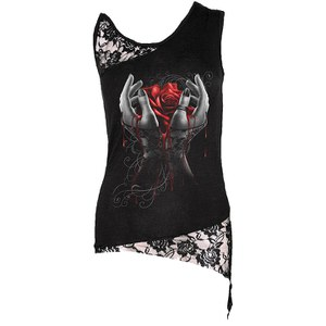 Spiral Women's HANDS OF SORROW Adj Shoulder Lace Top - Black