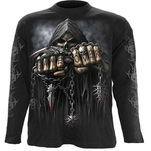T -Shirt manches longues Spiral pour Homme GAME OVER -Noir