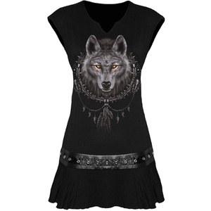 Spiral  Wolf Dreams Minirobe Serrée à la Taille - Noir
