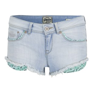 Superdry Women's Cali Bleach Denim Shorts - Sorbet Aqua