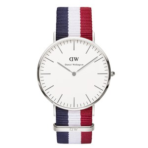 Daniel Wellington Classic Nato Cambridge Silver Watch - Red/White/Blue