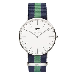 Daniel Wellington Classic Nato Warwick Silver Watch - Navy/Green