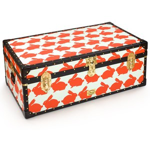 Anorak Kissing Rabbits Steamer Trunk - Orange/Blue