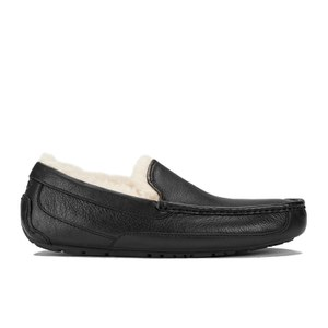 UGG Men's Ascot Leather Slippers - Black