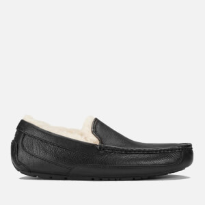 UGG Men's Ascot Grain Leather Slippers - Black