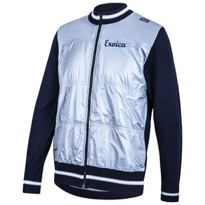 Santini Eroica Wool Zip Fastening Windproof Front 2015 Heritage Series Sweater - Blue