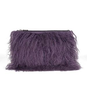 House of Holland Women's Mongolian Fur Clutch - Purple