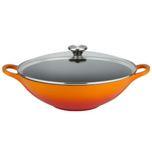 Le Creuset Signature Cast Iron Wok with Glass Lid - 32cm - Volcanic