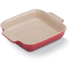 Le Creuset Stoneware Shallow Square Dish - 23cm - Cerise