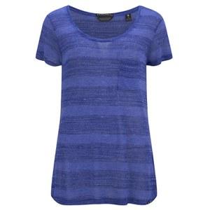 Maison Scotch Women's Engineered Striped Jersey T-Shirt - Blue