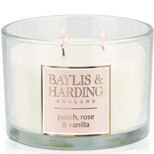 Baylis & Harding Mosaic Peach, Rose and Vanilla 3 Wick Candle