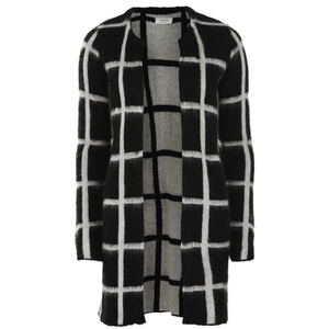 nümph Womens Checked Long Cardigan - Caviar