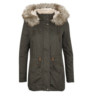 ONLY Womens Lee Canvas Parka Coat - Peat