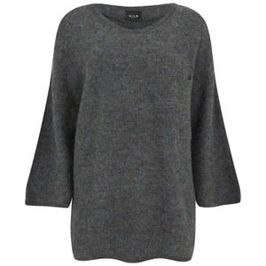 VILA Women's Loose Knitted Pocket Jumper - Medium Grey Melange