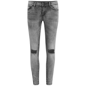 VILA Women's Ripped Knee Crush Skinny Jeans - Grey