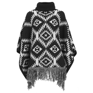 VILA Women's Erika Knitted Poncho - Black - One Size