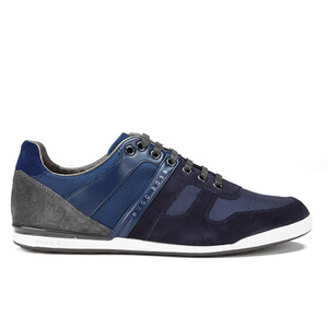 BOSS Green Men's Akeen Clean Leather Trainers - Dark Blue