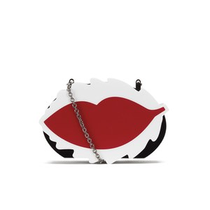REDValentino Women's Minaudiere Lips Clutch Bag - Black/White/Red
