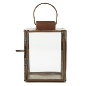 Nkuku Aloma Antique Copper Lantern - Clear