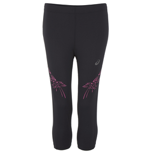 Asics Women's Stripe Running 3/4 Tights - Performance Black/Pink Glow