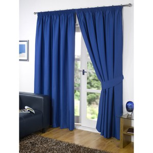Dreamscene Blackout Pencil Pleat Curtains - Blue
