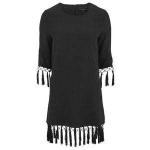 Lavish Alice Women's Tassel Hem Shift Dress - Black