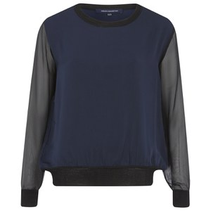 French Connection Women's Lou Lou Satin Top - Navy/Black