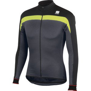 Sportful Pista Thermal Long Sleeve Jersey - Anthracite/Black/Yellow Fluo