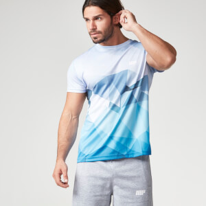 Myprotein T-Shirt Treino Padrão Geométrico Homem, Azul Claro