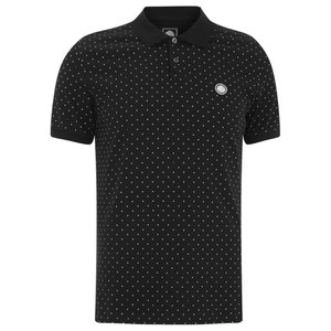 Pretty Green Men's Short Sleeve Polka Dot Polo Shirt - Black