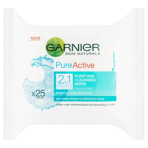 Garnier Pure 2-i-1 Wipes (25-pack)