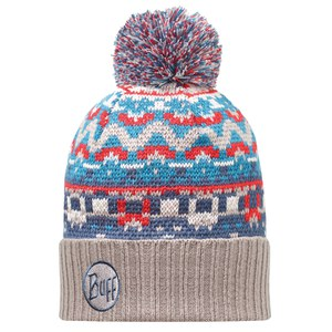 Buff Knitted Idris Hat - Blue