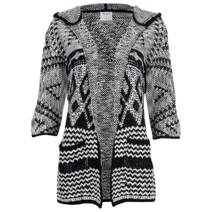 Vero Moda Women's Wood 3/4 Hood Cardigan - Black